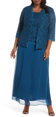 Alex Evenings Sequin Lace & Chiffon Gown with Jacket