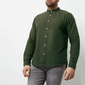 River Island Big and Tall khaki green Oxford shirt