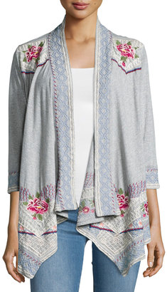 JWLA For Johnny Was Sabine 3/4-Sleeve Jersey Jacket, Gray $155 thestylecure.com