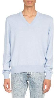 Maison Margiela Elbow-Patch V-Neck Sweater