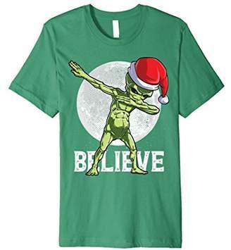 Dabbing Alien Believe T Shirt Christmas Santa UFO Hat Gifts