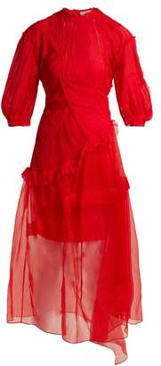 Preen by Thornton Bregazzi Risse Pleated Panel Silk Dress - Womens - Red
