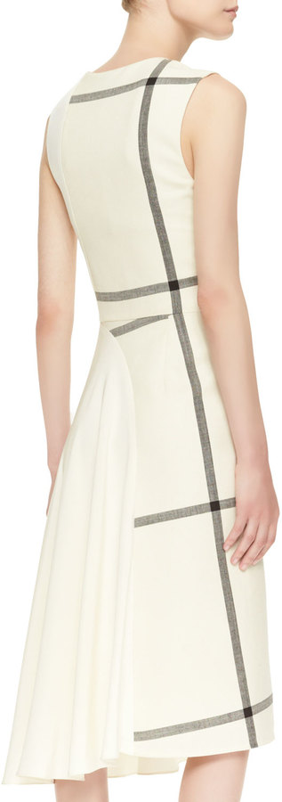 3.1 Phillip Lim Sleeveless Shadow Grid Dress with Jersey Back, Ivory/Dark Chocolate