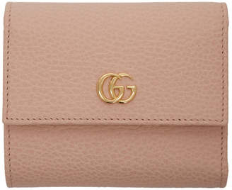 b8b0fb7cf491 Gucci Pink Small GG Marmont Trifold Wallet