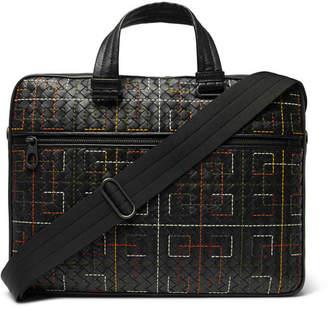 Bottega Veneta Embroidered Intrecciato Leather Briefcase - Black