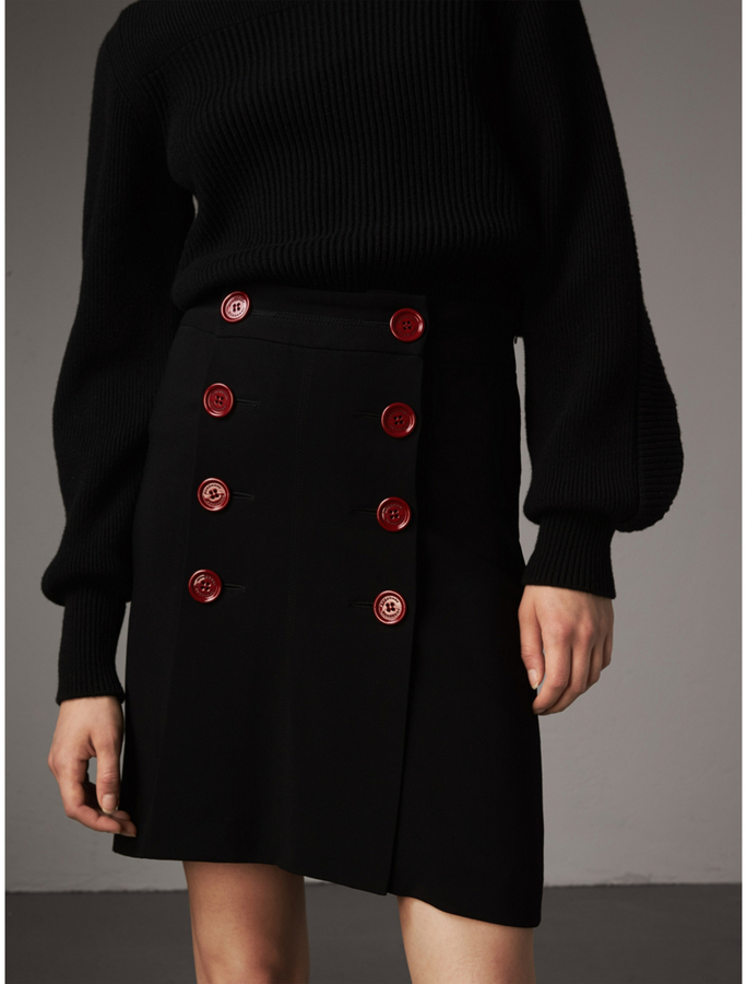 Burberry Resin Button Double-breasted Tailored Skirt