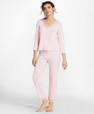 Brooks Brothers Lace-Trimmed Pima Cotton Interlock Jersey Pajama Set