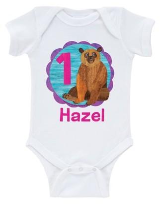 Brown Bear Birthday Girl Age White Infant Onesie