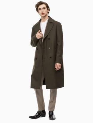 Calvin Klein wool felt double breasted long coat