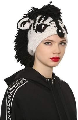 Dolce & Gabbana Zebra Wool & Cashmere Knit Beanie Hat