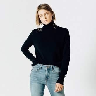 DSTLD Womens Wool Turtleneck Sweater in Black