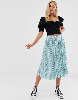 Glamorous plisse midi skirt in mini star print