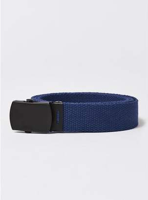 Topman Mens Navy Matte Buckle Webbed Belt