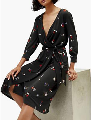 Warehouse Honey Wrap Dress, Black