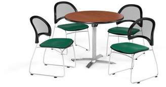 """OFM Multi-Use Break Room Package, 36"""" Round Flip-Top Table with Moon Stack Chairs, Cherry Finish with Shamrock Green Seats (PKG-BRK-169)"""