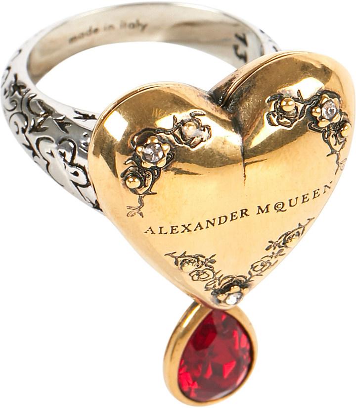 Alexander McQueenAlexander Mcqueen Embellished silver-toned metal ring