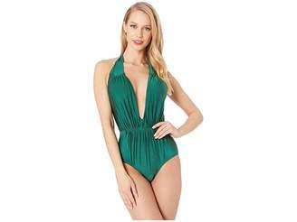 5c9fc4a7bb3 Unique Vintage Halter Shirred Derek One-Piece Swimsuit