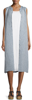 Eileen Fisher Sleeveless Button-Front Shirtdress, Chambray $258 thestylecure.com