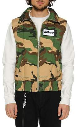 Off-White Men's Camouflage Zip-Front Quilted Vest