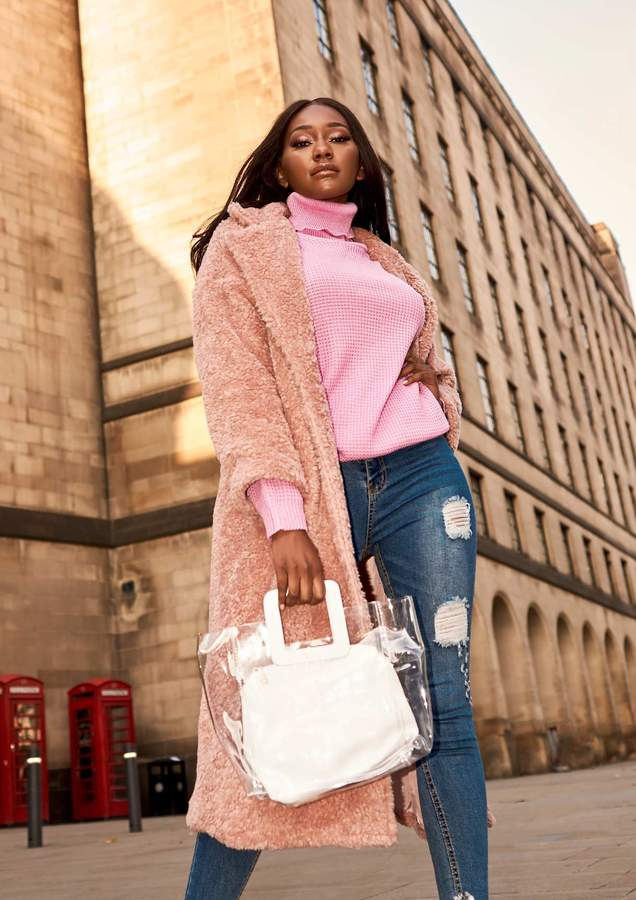 Missyempire Maxine Pink Teddy Borg Longline Coat