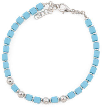 Men's Made In Italy Sterling Silver Turquoise Bead Bracelet