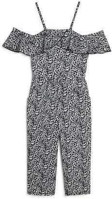 Aqua Girls' Leopard Print Cold-Shoulder Jumpsuit, Big Kid - 100% Exclusive