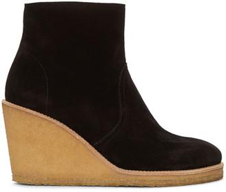 A.P.C. Black Wedge Gaya Boots $515 thestylecure.com