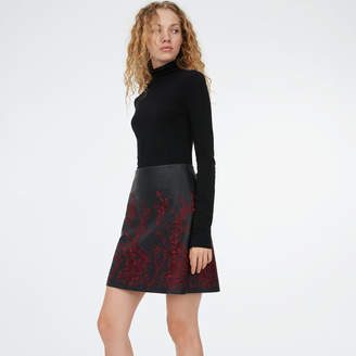 Club Monaco Broidie Faux Leather Skirt
