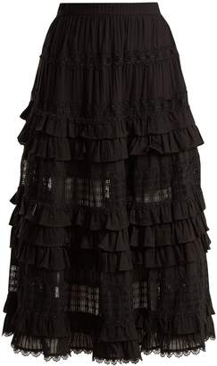 Zimmermann Corsair lace and ruffle-trimmed cotton skirt