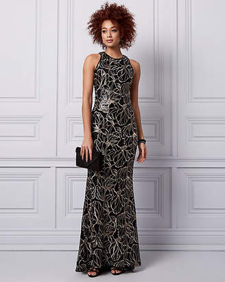 Le Château Embroidered Sequin Halter Gown