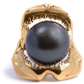 Lee Renee Shark Jawbone and Pearl Tie Pin Gold