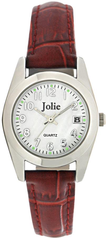 Jolie Ladies' Silvertone & Red Leather Watch