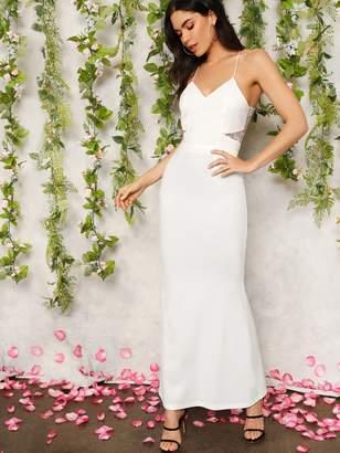 b1279e7a57 Shein Cutout Lace Back Cami Prom Dress