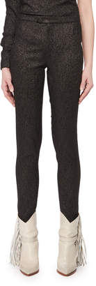 Isabel Marant Slim Skinny-Leg Evening Metallic Pants