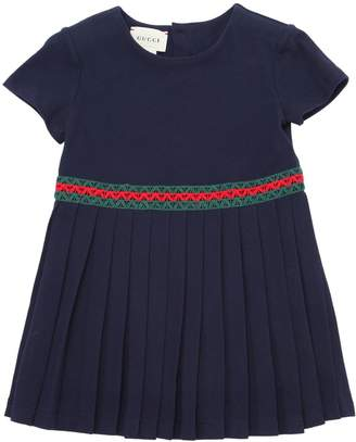 Gucci Cotton Piqué Dress W/ Web Lace Detail