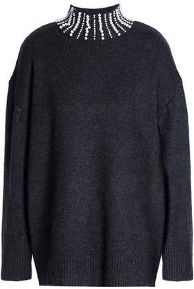 Sandro Faux Pearl-Embellished Knitted Turtleneck Sweater