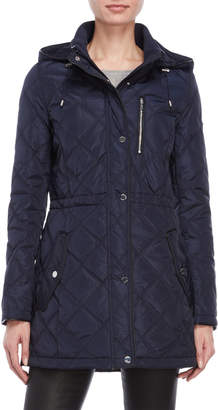 DKNY Hooded Longline Quilted Jacket
