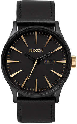 Nixon Men Sentry Leather/Canvas Strap Watch 42mm