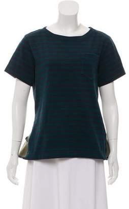 Sacai Striped Short Sleeve Top