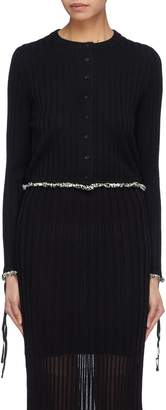 3.1 Phillip Lim Lace-up cuff frayed edge rib knit cardigan