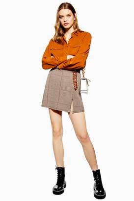 Topshop Womens Herringbone Check Mini Skirt - Nude