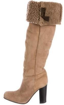 Prada Suede Shearling-Lined Knee-High Boots Tan Suede Shearling-Lined Knee-High Boots