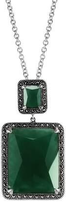 Suspicion Sterling Green Agate & Marcasite Pendant w/ Chain