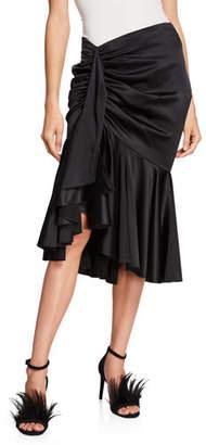 Caroline Constas Elsie Gathered Silk Midi Tulip Skirt