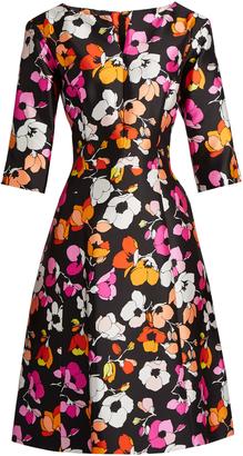 OSCAR DE LA RENTA V-neck floral-print full-skirt silk dress $2,490 thestylecure.com