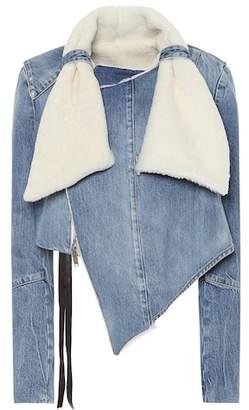 Unravel Shearling-trimmed denim jacket