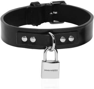 DSQUARED2 Leather Dog Collar W/ Detachable Logo