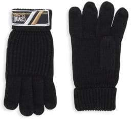 Class Roberto Cavalli Wool Logo Patch Knitted Gloves