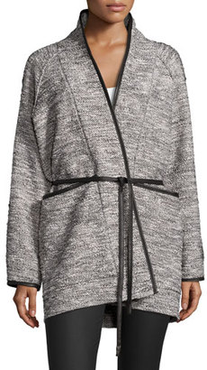 Rebecca Taylor Tweed Tie-Waist Jacket, Black/White $550 thestylecure.com