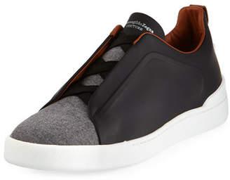Ermenegildo Zegna Couture Triple-Stitch Leather & Flannel Low-Top Sneaker, Gray/Black